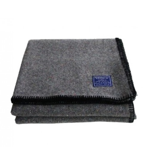 Faribault Recycled Wool Throw - Black Whipstitch