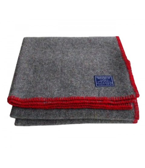 Faribault Recycled Wool Throw - Red Whipstitch