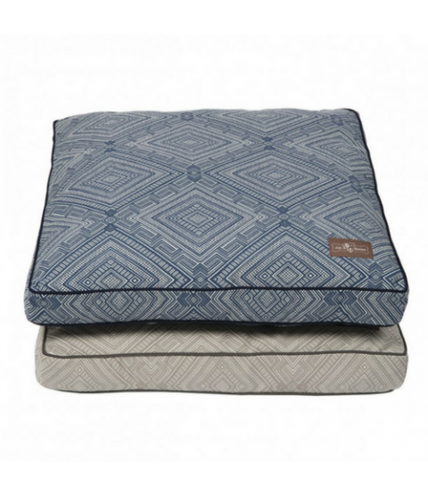 Gatsby Square Pillow Bed in Grey and Blue