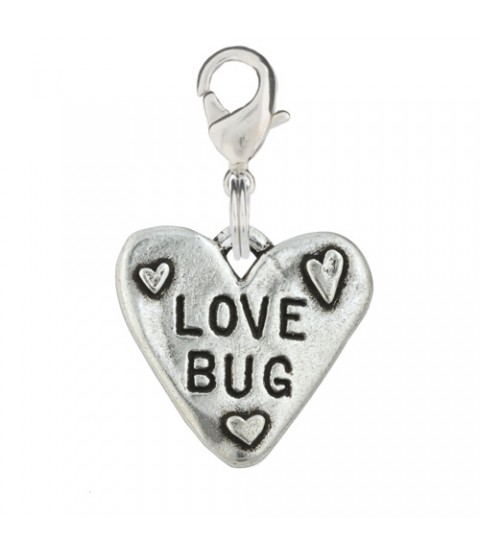 Hand Stamped Pewter Love Bug Dog Charm