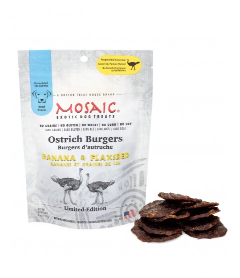 Mosaic Ostrich Burgers Dog Treats - 2 Flavors