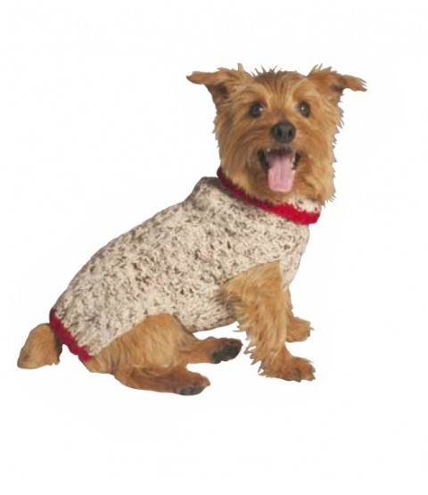 Handknit Wool Oatmeal Dog Sweater with Red Trim