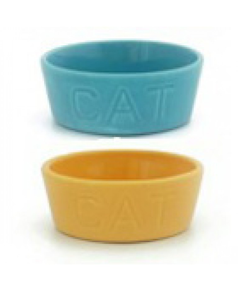 Pottery Cat Bowls Made in Los Angeles l Bauer Pottery Cat