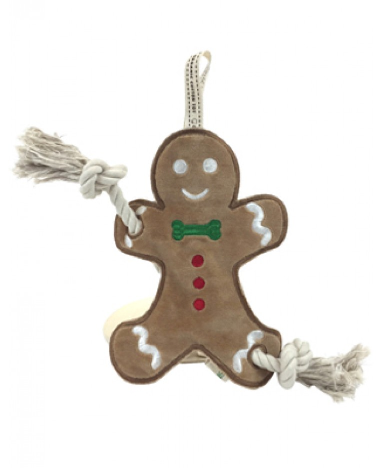 Organic Cotton Gingerbread Stuffless Rope Dog Toy l Simply