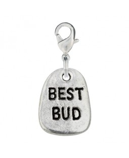 Hand Stamped Pewter Best Bud Dog Charm