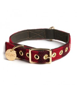 Found Red Buffalo Plaid Dog Collar