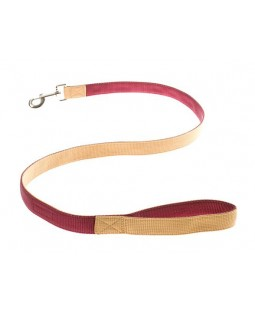 Contrast Nylon Leash - Chamois + Burgundy