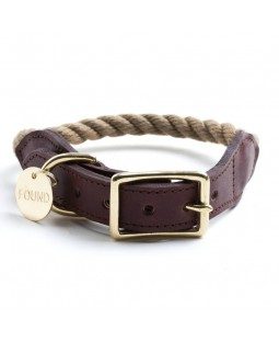 Found Natural Rope & Leather Dog Collar