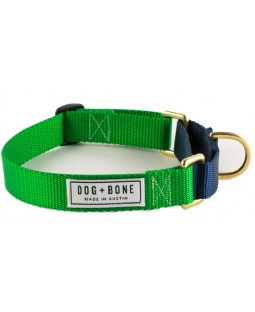 Dog + Bone Martingale Dog Collar - Green/Navy