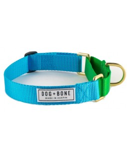 Dog + Bone Martingale Dog Collar - Blue/Green