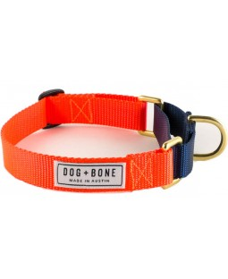 Dog + Bone Martingale Dog Collar - Orange/Navy