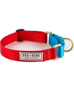 Dog + Bone Martingale Dog Collar - Red/Blue