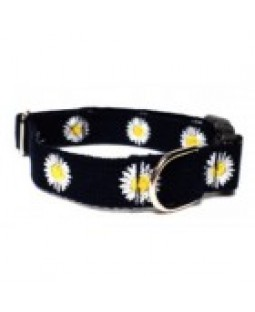 Embroidered Cotton Daisy Dog Collar - George/Navy Blue