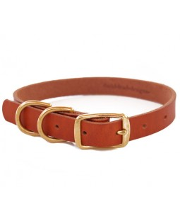 Bold Lead Designs Bridle Leather Dog Collar - Double D Rings