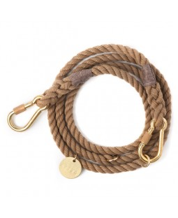 FOUND Natural Rope Leash - Adjustable Brass