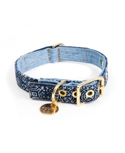 Found Vintage Batik Denim Dog Collar