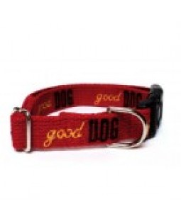 Cotton Dog Collar Embroidered with Good Dog - George/Red & Yellow