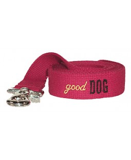 George Yellow Cotton Webbing Dog Leash Embroidered with Good Dog
