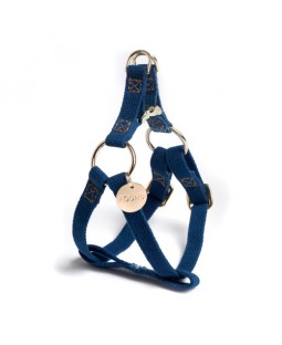 Found Indigo Cotton Webbing Dog Harness