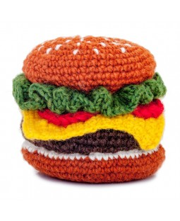 Ware of the Dog Hamburger Knit Toy