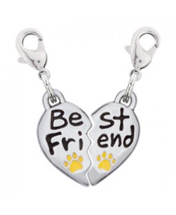 Pewter Heart Best Friend Charm