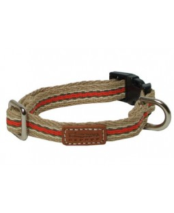 George Woven Khaki & Orange Stripes Dog Collar & Leash