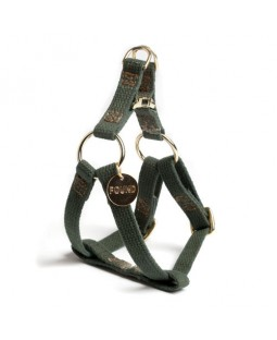 Found Olive Cotton Webbing Dog Harness