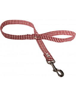 Red & White Gingham Canvas Dog Lead