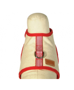 George Red Woven Stripe Cotton Canvas Harness Vest
