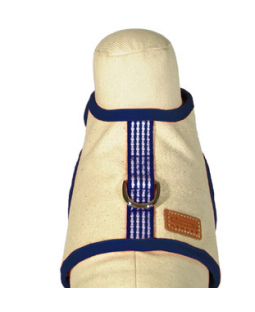 George Navy Woven Stripe Cotton Canvas Harness Vest