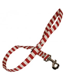 Red & White Stripe Dog Leash