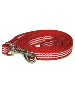 George Red Woven Stripe Cotton Leash