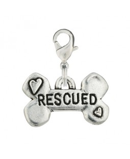Hand Stamped Pewter Rescued Bone Dog Charm