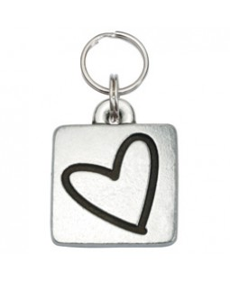 Square Dog ID Tag with Heart