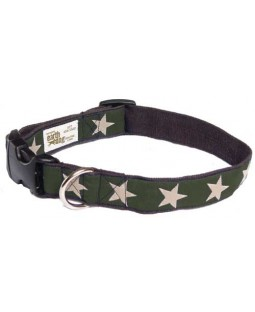 Earthdog Hemp Stars Dog Collar in Green
