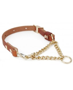 Bold Lead Designs Martingale Collar with Adjustable Chain - Golden Tan