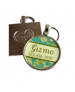 Tea Rose Garden Pet ID Tag