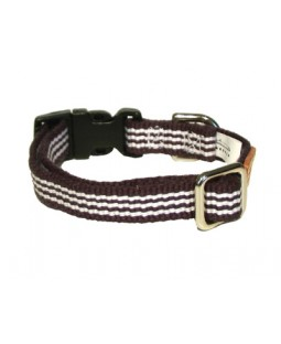 George Navy Woven Stripe Cotton Dog Collar